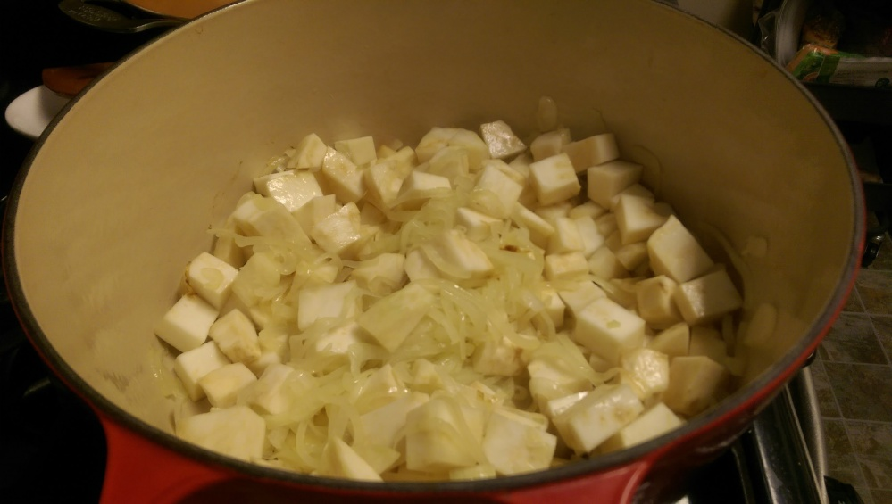 Celery root and cooked onions