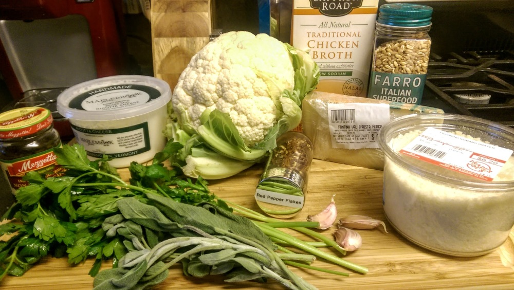 Ingredients for cauliflower and farro